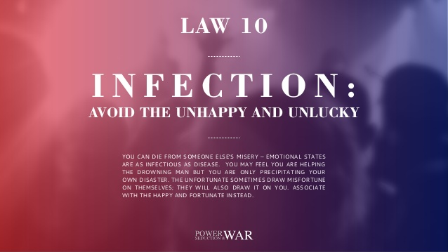48 Laws Of Power: Law #10 Infection: Avoid the Unhappy & Unlucky