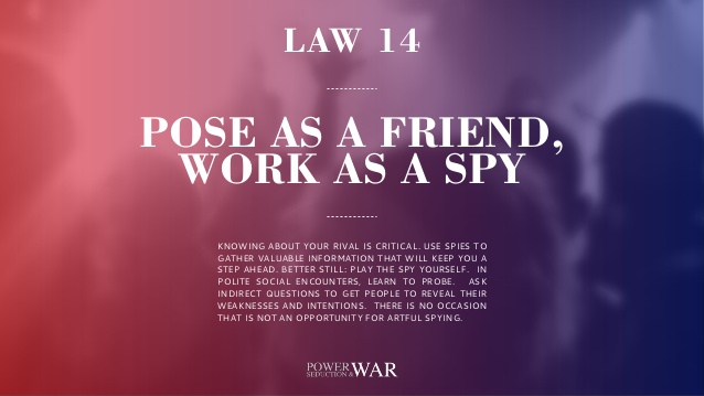 48 Laws of Power: Law #14 Pose As a Friend, Work As a Spy