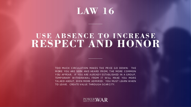 48 Laws of Power: Law #16 Use Absence to Increase Respect & Honor
