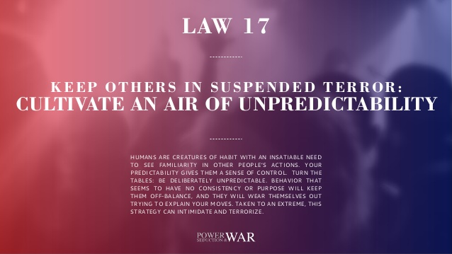 48 Laws of Power: Law #17 Keep Others in Suspended Terror: Cultivate An Air of Unpredictability