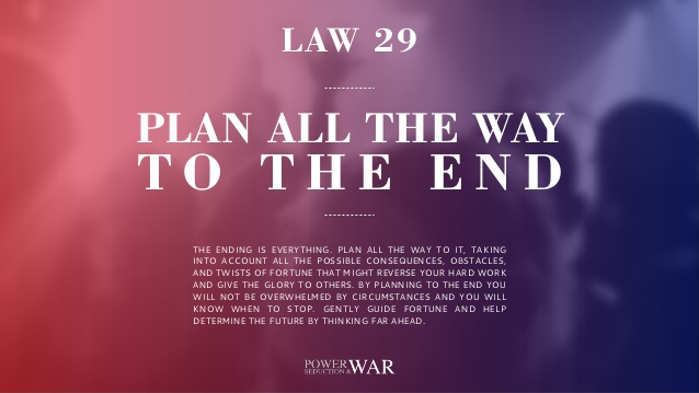 48 Laws of Power: Law #29 Plan All The Way To The End