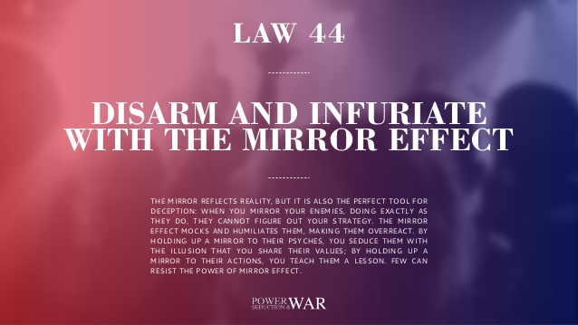 48 Laws Of Power: Law #44 Disarm & Infuriate With The MirrorEffect